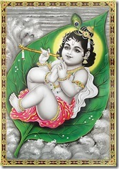 Krishna baby on leaf
